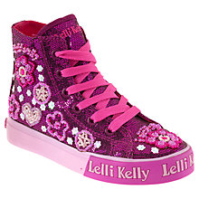 Buy Lelli Kelly Glitter Mid-Top Trainers, Purple Online at johnlewis.com