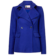 Buy Jaeger Textured Pea Coat, Electric Purple Online at johnlewis.com