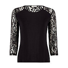 Buy Planet Lace Yoke Jersey Top, Black Online at johnlewis.com