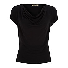Buy Precis Petite Textured Drape Top, Black Online at johnlewis.com