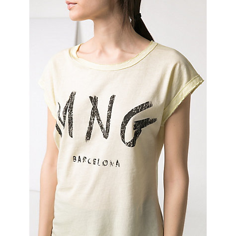Buy Mango Logo Wash T-Shirt, Medium Yellow Online at johnlewis.com