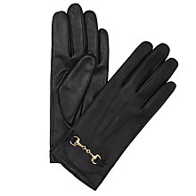Buy John Lewis Leather Snaffle Touch Screen Gloves, Black Online at johnlewis.com