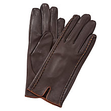 Buy John Lewis Stitch Silk Lined Gloves, Chocolate/Tan Online at johnlewis.com