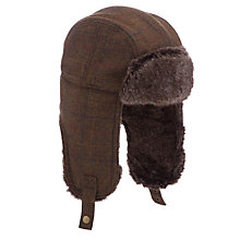 Buy John Lewis Tweed Trapper Hat, Brown Online at johnlewis.com