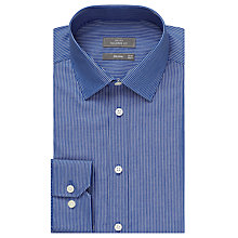 Buy John Lewis Fine Stripe Tailored Non Iron Shirt, Navy Online at johnlewis.com