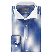 Buy John Lewis Contrast Collar Stripe Tailored Shirt, Blue/White Online at johnlewis.com
