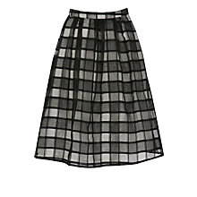 Buy Warehouse Organza Check Skirt, Black Online at johnlewis.com