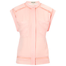 Buy Whistles Sheer Panel Silk Shirt, Pale Pink Online at johnlewis.com