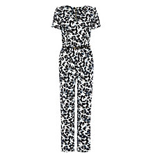 Buy Warehouse Shadow Floral Belted Jumpsuit, Multi Online at johnlewis.com