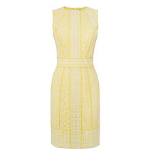 Buy Warehouse Paneled Broderie Dress, Lemon Online at johnlewis.com