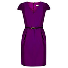 Buy Oasis Shantung V Neck Lantern Dress, Dark Purple Online at johnlewis.com