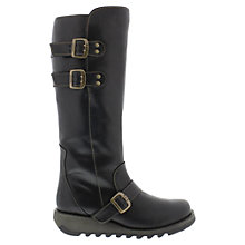 Buy Fly Solv Leather Long Boots, Black Online at johnlewis.com