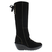 Buy Fly Yust Knee High Lace Detail Boots, Black Online at johnlewis.com