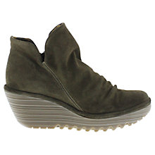 Buy Fly Yip Ruched Wedge Heel Boots, Grey Online at johnlewis.com
