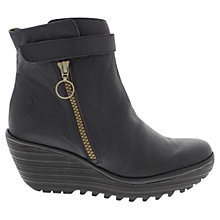 Buy Fly Yava Leather Zip Up Ankle Boots, Navy Online at johnlewis.com