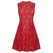 Buy Oasis High Neck Lace Dress, Rich Red Online at johnlewis.com