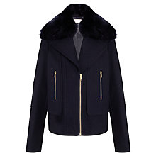 Buy John Lewis Faux Fur Collar Jacket, Navy Online at johnlewis.com