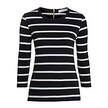 Buy John Lewis Back Zip Top, Navy/White Online at johnlewis.com