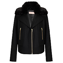 Buy John Lewis Fur Collar Biker Jacket, Black Online at johnlewis.com