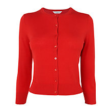 Buy L.K. Bennett Silk Mix Crew Neck Bibi Cardigan, Red Ruby Online at johnlewis.com