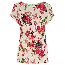 Buy Oasis Divine Rose Printed T-Shirt, Pink Multi Online at johnlewis.com