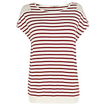 Buy Oasis Banded Hem Stripe Top, Multi Red Online at johnlewis.com