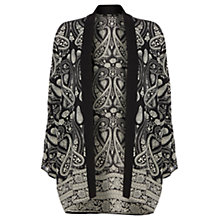 Buy Oasis Scarf Placement Kimono, Black Online at johnlewis.com