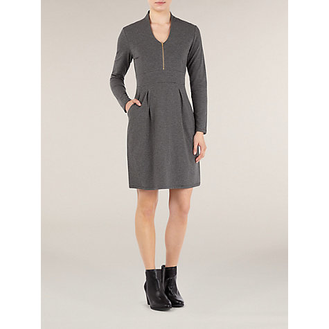 Buy Kaliko Zip Front Wissi Stripe Dress, Multi Grey Online at johnlewis.com
