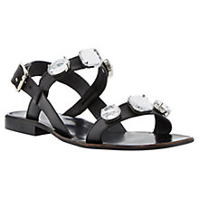 Buy Dune Black Libbi Double Strap Jewel Leather Sandals, Black Online at johnlewis.com