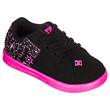 Buy DC Children's Court Graffik Low Trainers, Black/Pink Online at johnlewis.com