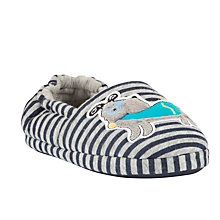 Buy John Lewis Superdog Closed Back Slippers, Grey/Navy Online at johnlewis.com