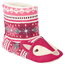 Buy John Lewis Knitted Fox Boot Slippers, Berry Online at johnlewis.com