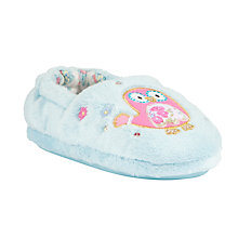 Buy John Lewis Owl Motif Faux Fur Slippers, Light Blue Online at johnlewis.com