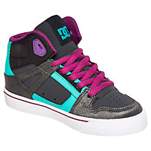 Buy DC Children's Spartan Hi-Top Trainers, Grey/Multi Online at johnlewis.com
