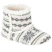 Buy John Lewis Children's Knitted Fairisle Slippers, White/Grey Online at johnlewis.com