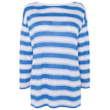 Buy L.K. Bennett Long Sleeved Stripey Linen Top, Blue Sky Online at johnlewis.com