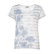 Buy Jigsaw Stripe Floral Print T-Shirt, White Online at johnlewis.com