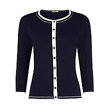 Buy Precis Petite Stitch Detail Cardigan, French Navy Online at johnlewis.com