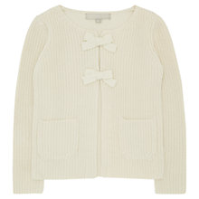Buy Jigsaw Junior Girls' Ribbed Bow Corsage Cardigan, Cream Online at johnlewis.com