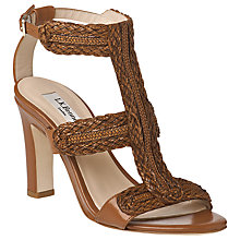 Buy L.K. Bennett Cindy Woven T-Bar High Heel Block Sandals, Tan Online at johnlewis.com