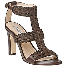 Buy L.K. Bennett Cindy Woven T-Bar High Heel Block Leather Sandals, Brown Online at johnlewis.com