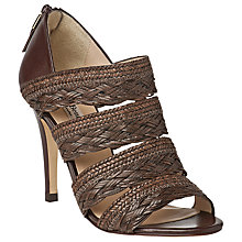 Buy L.K. Bennett Ciara Woven Peep Toe Stiletto Leather Sandals, Chocolate Brown Online at johnlewis.com