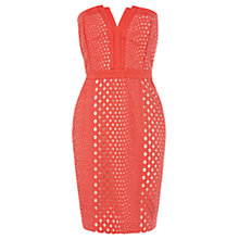 Buy Warehouse Cutwork Bandeau Dress, Coral Online at johnlewis.com