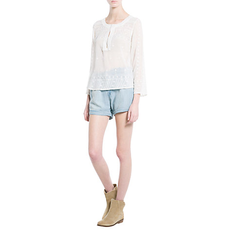 Buy Mango Embellished Chiffon Top, White Online at johnlewis.com