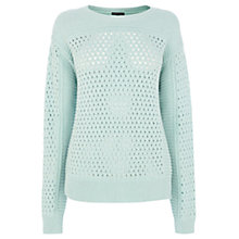 Buy Warehouse Cropped Mesh Crew Jumper, Mint Online at johnlewis.com