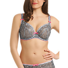 Buy Freya Jungle Fever Underwired Plunge Balcony Bra, Monochrome Online at johnlewis.com