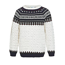 Buy John Lews Boy Fair Isle Knit Crew Neck Jumper, Cream Online at johnlewis.com