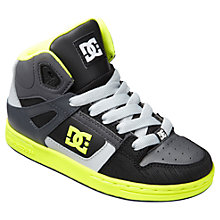 Buy DC Children's Rebound Hi-Top Trainers, Black/Yellow Online at johnlewis.com