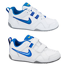 Buy Nike Children's Lykin 11 Trainers, White/Blue Online at johnlewis.com