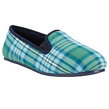 Buy John Lewis Boy Check Plaid Slippers, Blue/Green Online at johnlewis.com